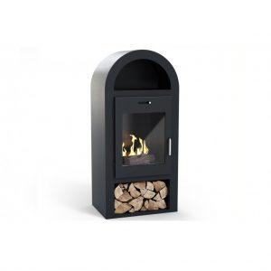 Skorstensfri kamin i svart färg Salcombe